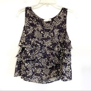 Lush cheetah print ruffle layered sleeveless top